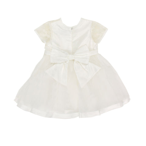 Bebe Short Sleeve Organza Dress with Bow - Ivory