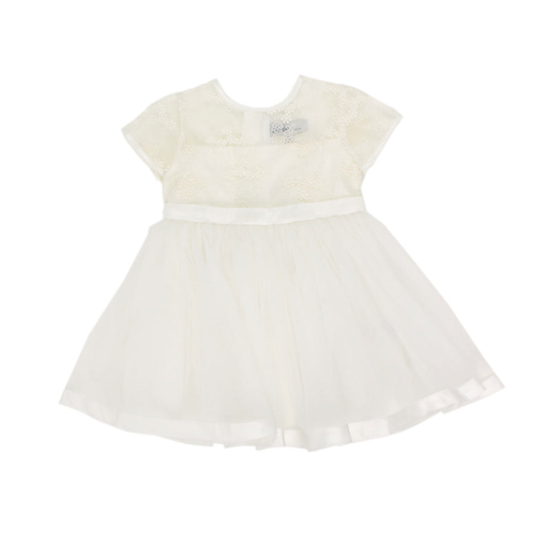 Bebe Short Sleeve Organza Dress with Bow - Ivory Special Occassion Bebe - Little Styles