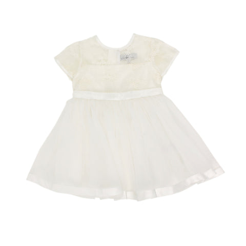 Bebe S/S Organza Dress with Bow - Ivory