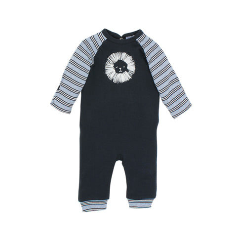 Bebe Tobias Long Sleeve Little Lion Romper - Blue