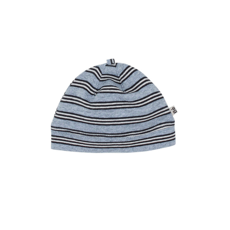Bebe Tobias Stripe Beanie with Band -  Blue Stripe Beanies Bebe - Little Styles