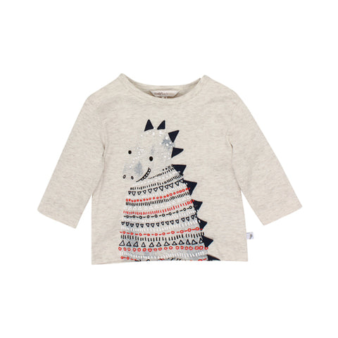 Fox & Finch Baby Dino Dinosaur Top - Oat Marl