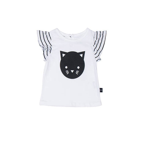 Huxbaby Cat Frill Top in White