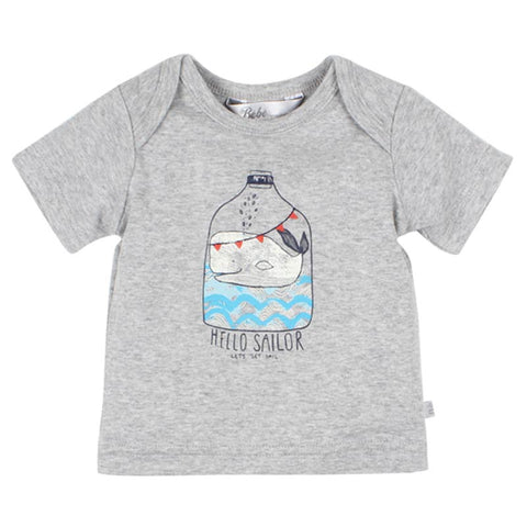 Bebe Oscar Short Sleeve Whale Tee in Grey