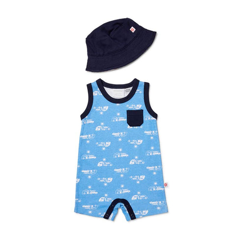 Marquise 2 Piece Set Romper and Hat Print