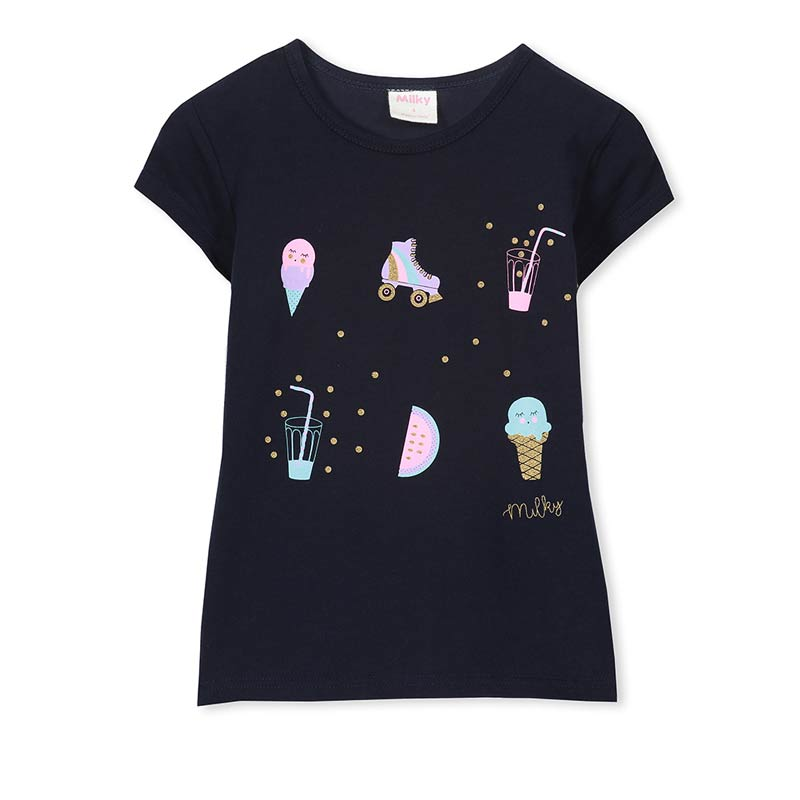 Milky Ice Cream Tee in French Navy Tops Milky - Little Styles