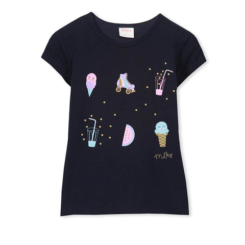 Milky Ice Cream Tee in French Navy