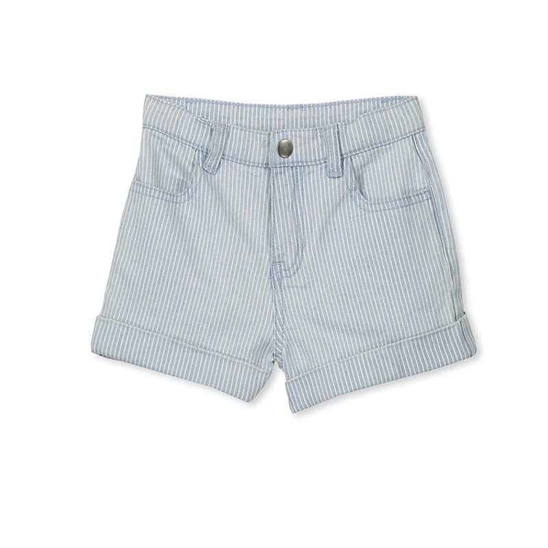 Milky Chambray Short in Blue Shorts Milky - Little Styles