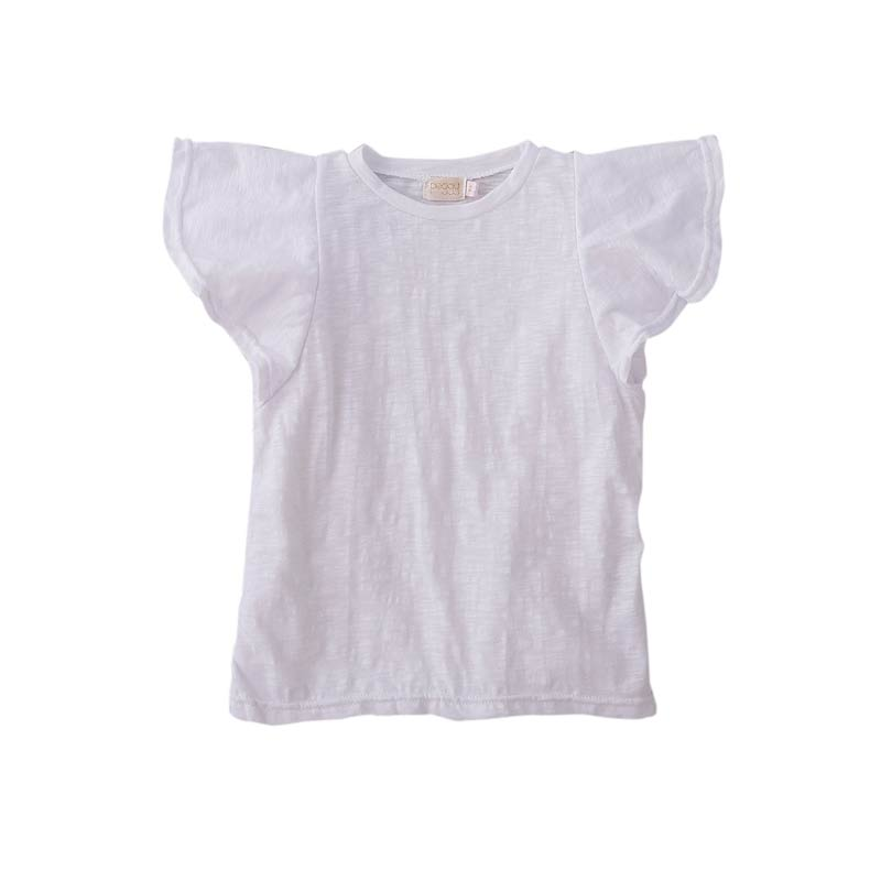 Peggy Belle Tee in White Cotton Jersey Tops Peggy - Little Styles