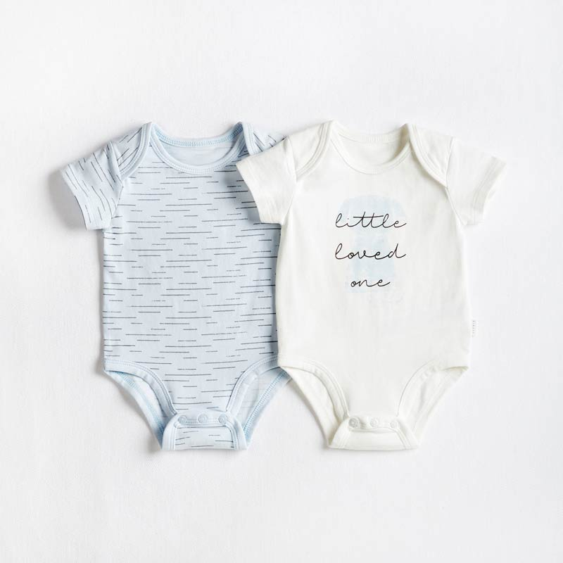 Petit Lem 2 Pack Puppy Bodysuit - Light Blue Onesies Petit Lem - Little Styles
