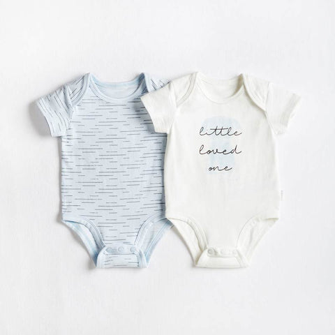 Petit Lem 2 Pack Puppy Bodysuit - Light Blue