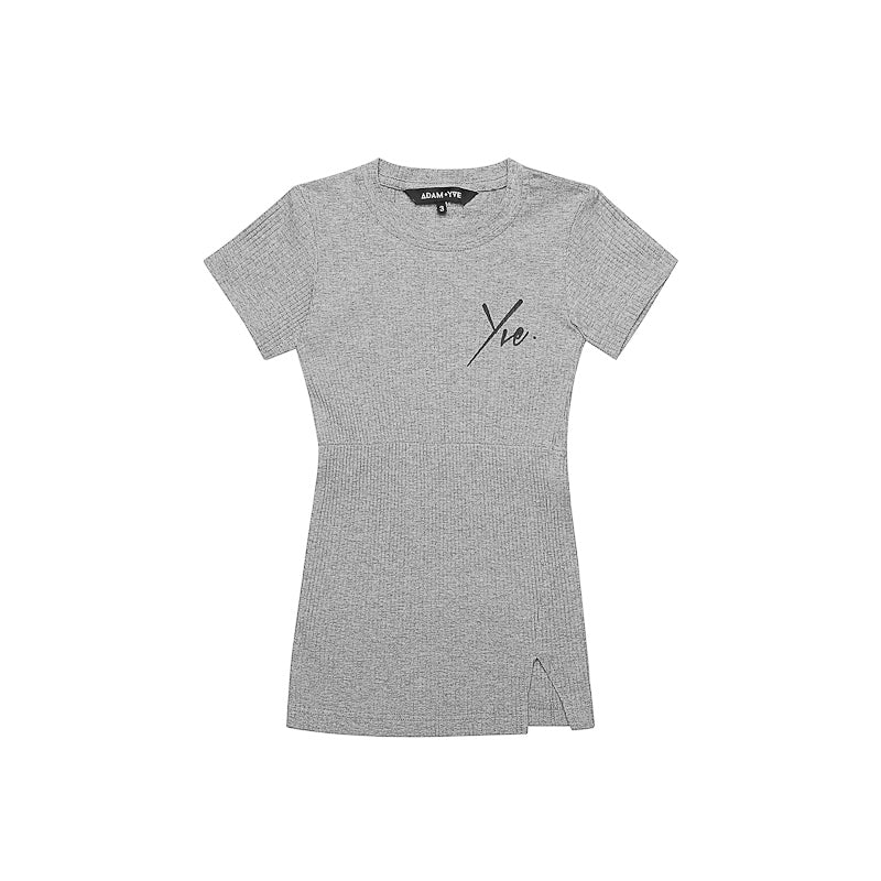 Adam + Yve Grey Rib Tee Dress Dresses Adam + Yve - Little Styles