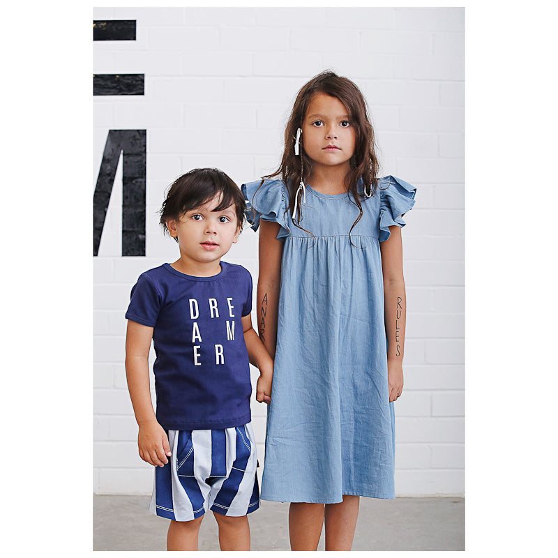 Anarkid Distressed Chambray Princess Line Short Sleeve Dress - Skyway Dress Anarkid - Little Styles