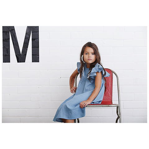 Anarkid Distressed Chambray Princess Line Short Sleeve Dress - Skyway