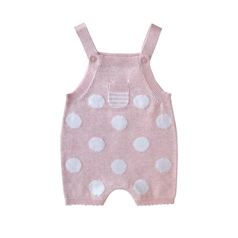Beanstork All Cotton Spot Rompers - Pink Marle
