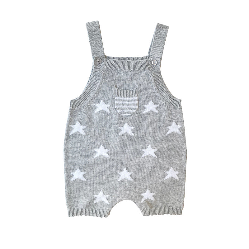 Beanstork All Cotton Star Playsuit - Grey Marle Playsuit Beanstork - Little Styles