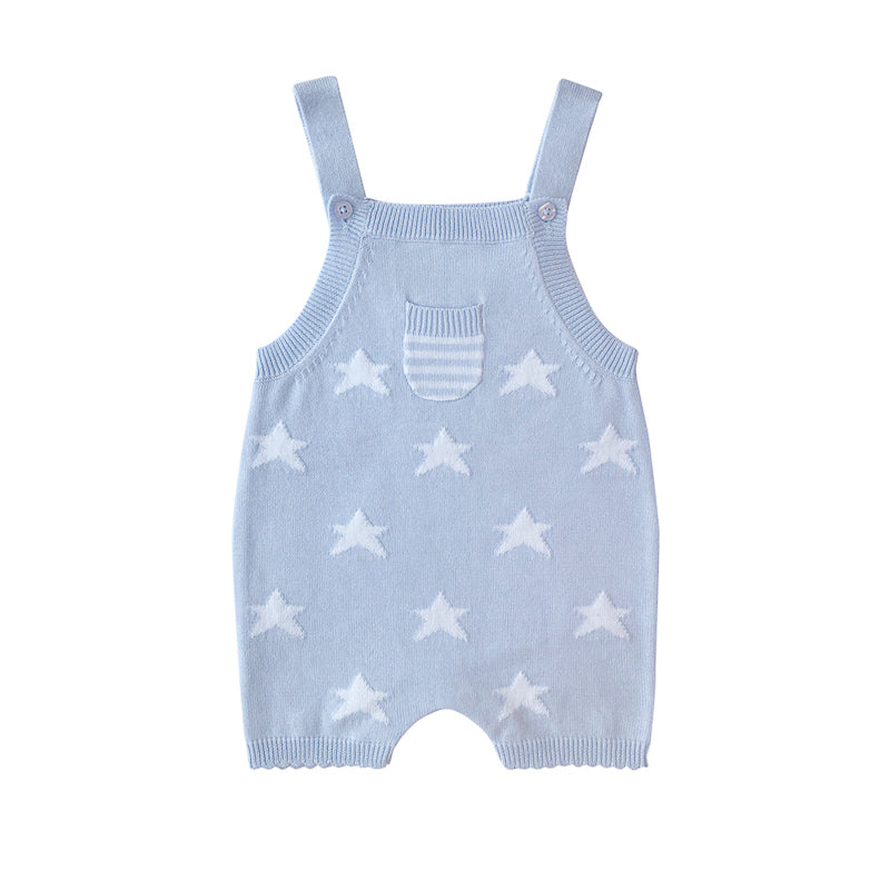 Beanstork All Cotton Star Playsuit - Soft Blue Playsuit Beanstork - Little Styles