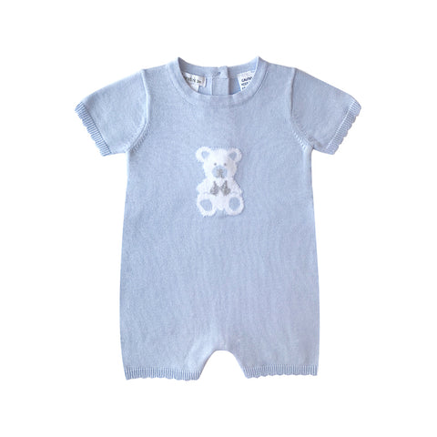 Beanstork All Teddy Bear Romper - Soft Blue