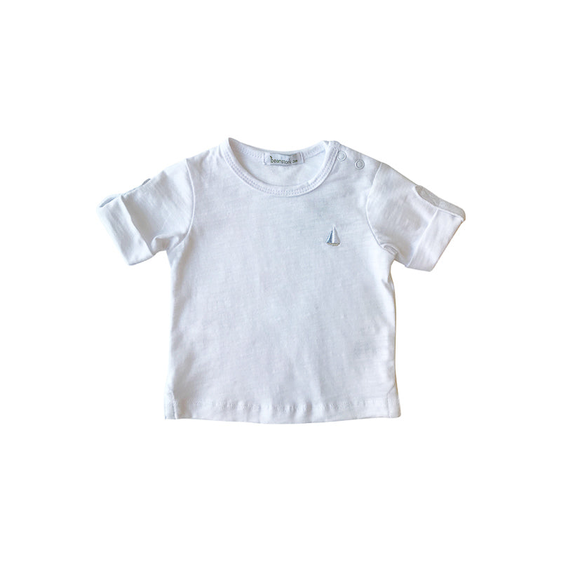 Beanstork Cotton Slub T Shirt - White Tops Beanstork - Little Styles