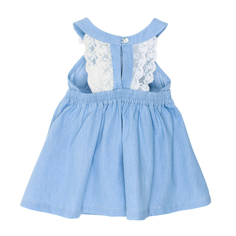 Bebe Abby Chambray Lace Dress - Light Chambray Dresses Bebe - Little Styles