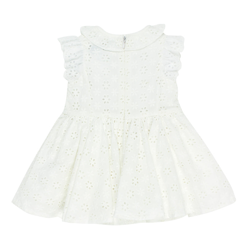 Bebe Betty Broiderie Dress in Cloud Dresses Bebe - Little Styles