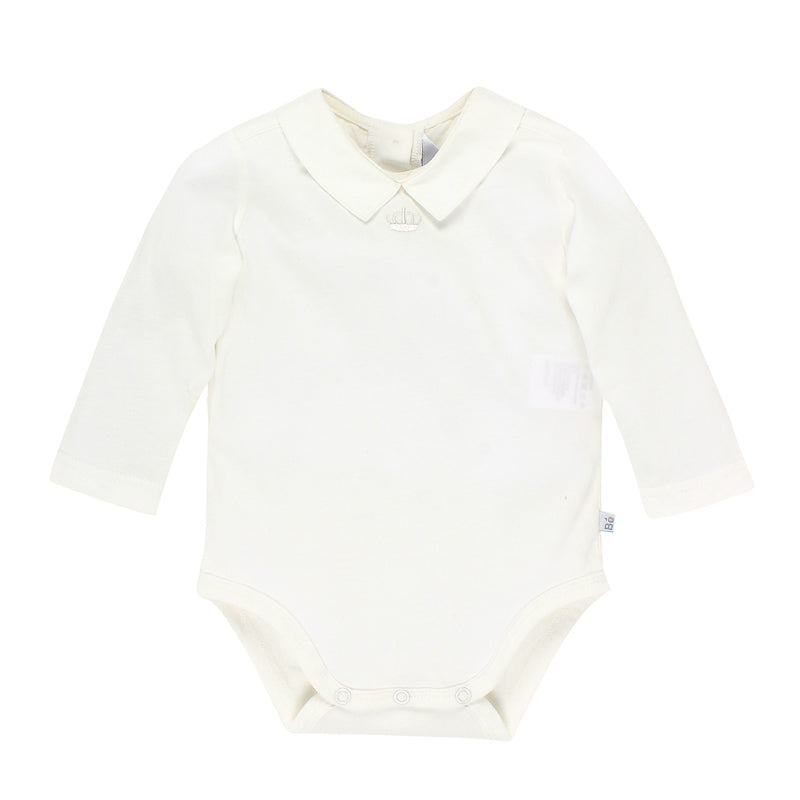 Bebe Boys Long Sleeve Bodysuit with Collar - Ivory