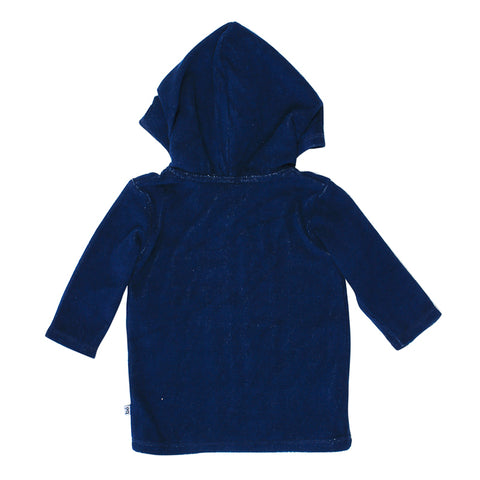 Bebe Caleb Long Sleeve Zip Hooded Towel Jacket - Royal Navy