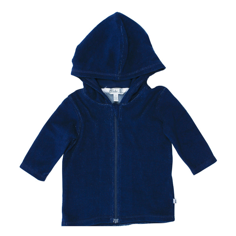 Bebe Caleb Long Sleeve Zip Hooded Towel Jacket - Royal Navy Jumpers & Jackets Bebe - Little Styles