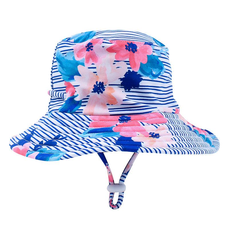 Bebe Elle Floral Sun Hat - Blue & Pink Hats and Beanies Bebe - Little Styles