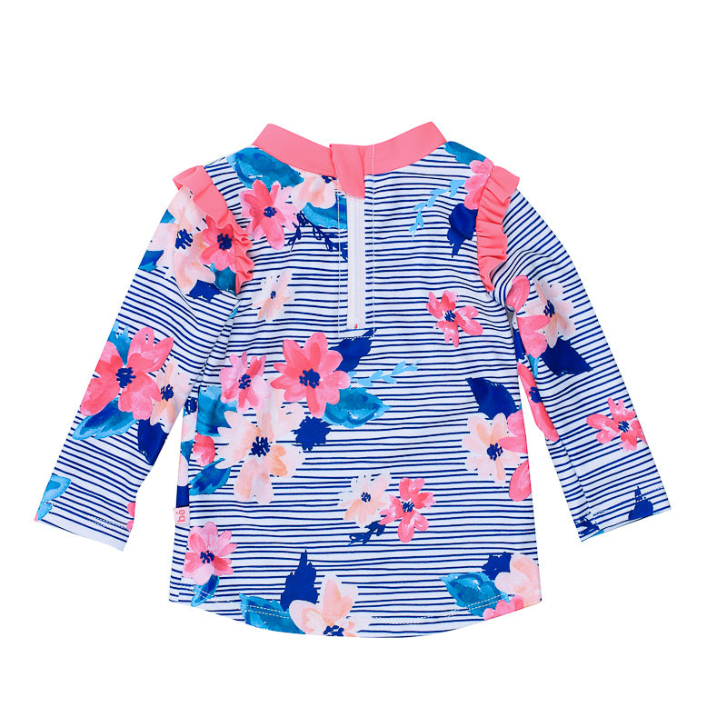 Bebe Elle Florals Long Sleeve Rash Vest - Blue & Pink Swimwear Bebe - Little Styles