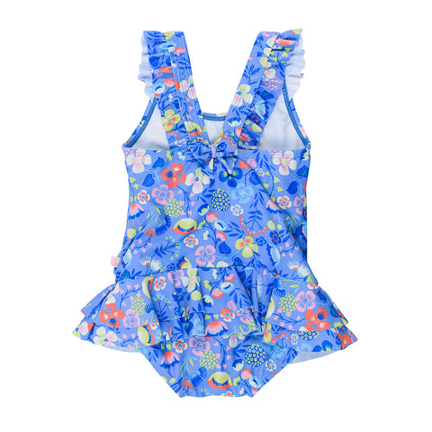 Bebe Emma Floral Swim Suit with Frill- Blue
