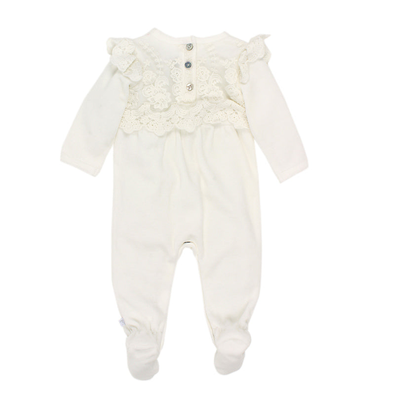 Bebe Girls Long Sleeve Lace Romper with Feet - Ivory