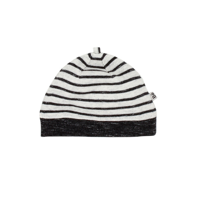 Bebe Hawk Stripe Beanie with Band - Charcoal Grey Beanies Bebe - Little Styles