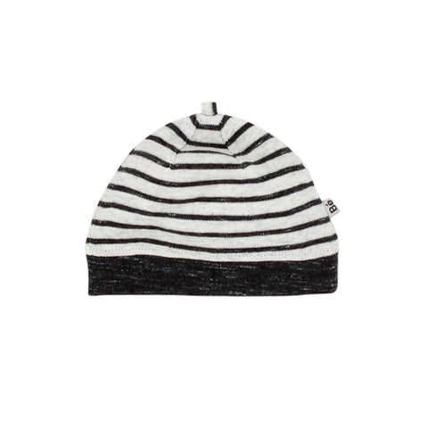 Bebe Hawk Stripe Beanie with Band - Charcoal Grey