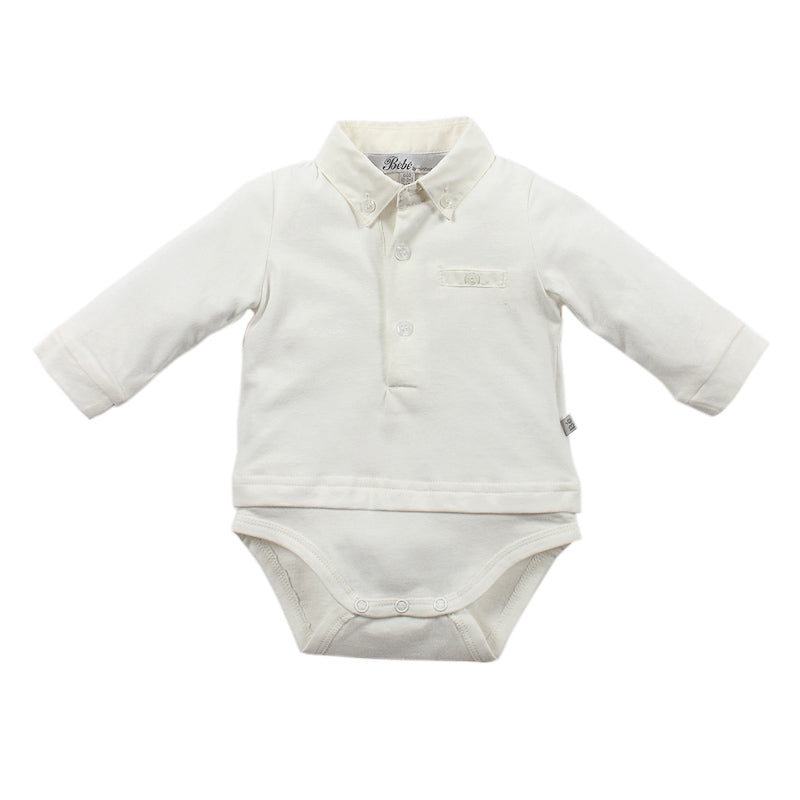 Bebe Hudson Long Sleeve Bodysuit with Collar - Ivory