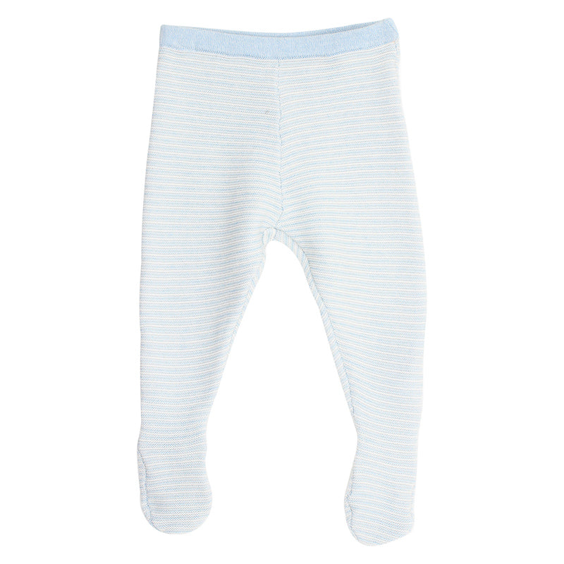 Bebe Leo Knit Footed Legging - Blue Stripe