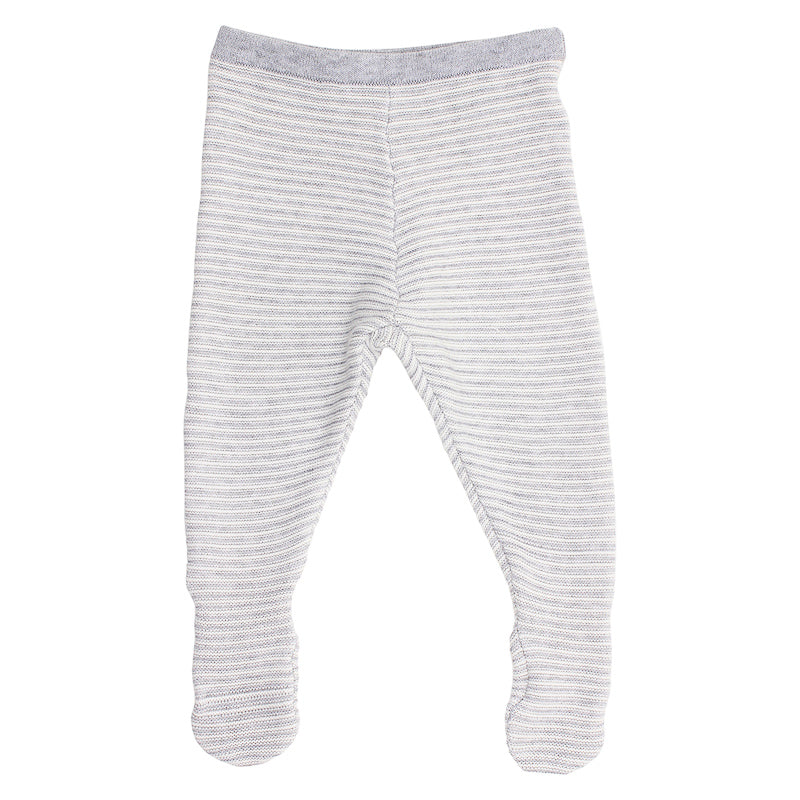 Bebe Leo Knit Footed Legging - Grey Stripe
