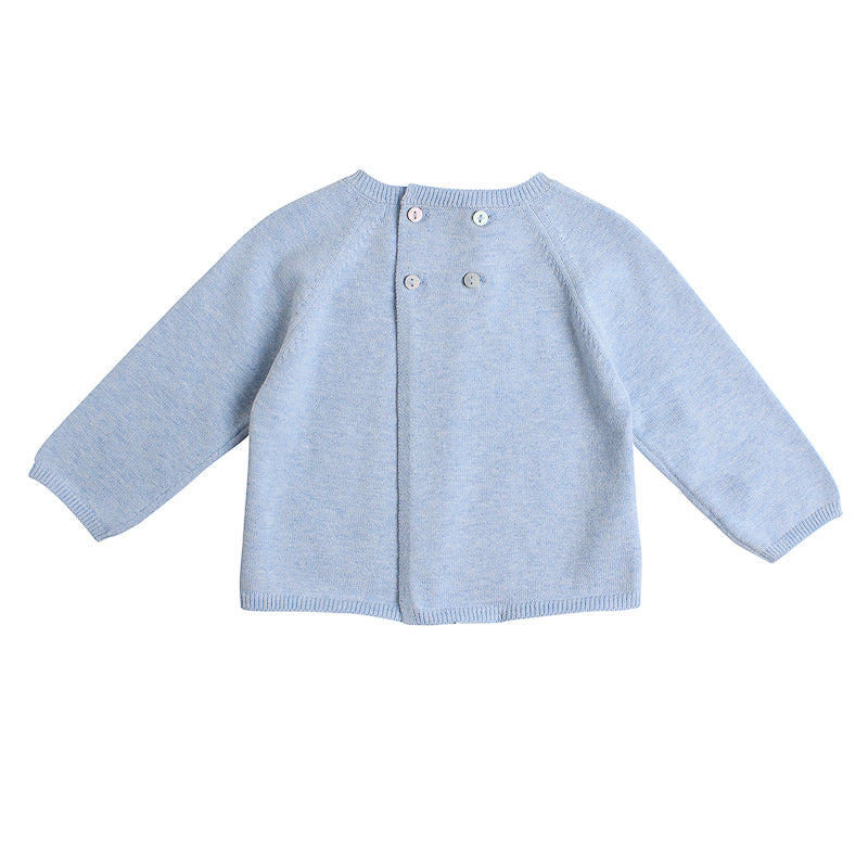 Bebe Leo Knit Sheep Face Sweater - Blue