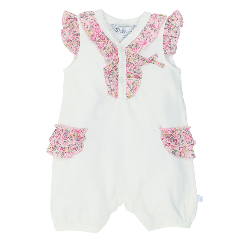 Bebe Liberty Knit Romper with Frill Details - Tatum Pink Onesies Bebe - Little Styles