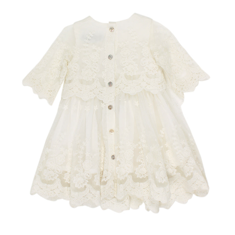 Bebe Short Sleeve Lace Overlay Dress - Ivory