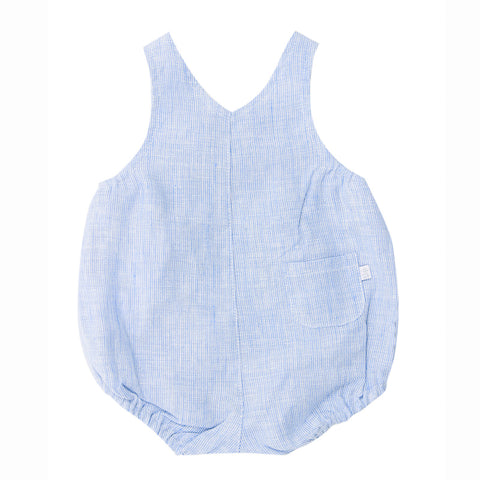 Bebe Theo Linen Button Overall - Stripe