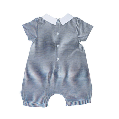 Bebe Theo Short Sleeve Stripe Romper with Collar