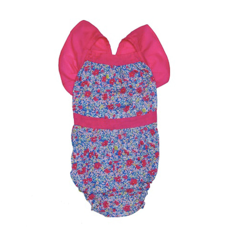 Coco and Ginger Camille Sunsuit Azure Meadow with Cerise Swimwear Coco and Ginger - Little Styles