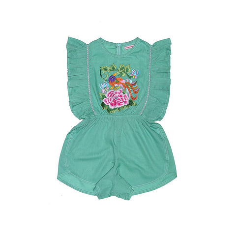 Coco and Ginger Delphine Playsuit Mint with Embroidery