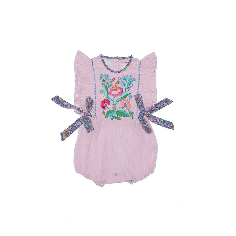Coco and Ginger Honore Peach with Hand Stitch Playsuit Coco and Ginger - Little Styles