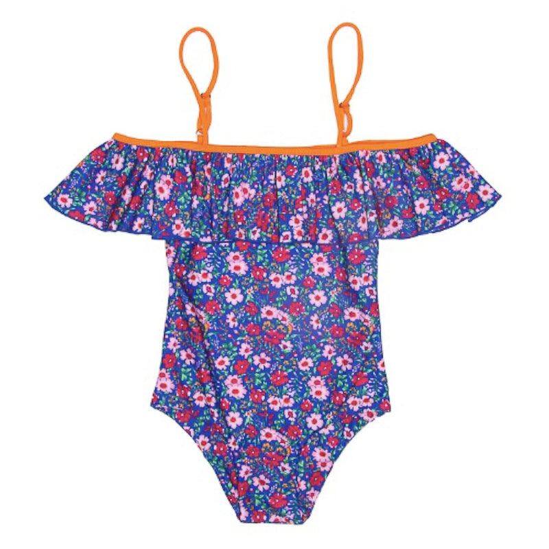 Coco and Ginger One Piece with Frill Azure Indian Flowers Swimwear Coco and Ginger - Little Styles