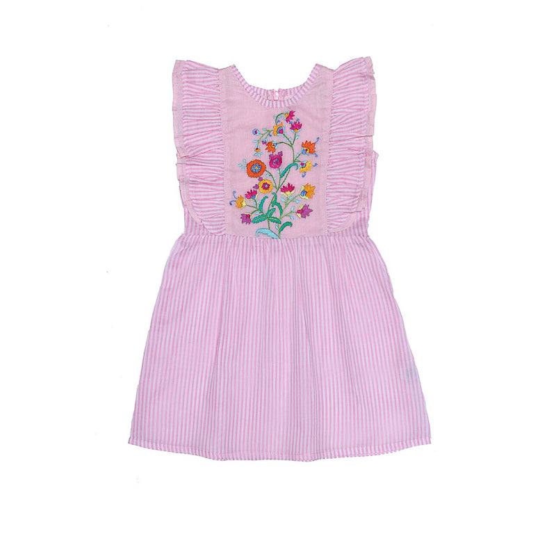Coco and Ginger Viola Dress Stripped Pink with Hand Stitch Dresses Coco and Ginger - Little Styles