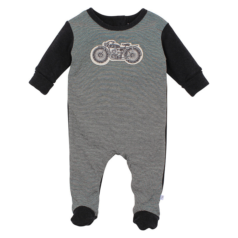 Fox & Finch Baby Cruiser Motorcycle Romper - Black Marle