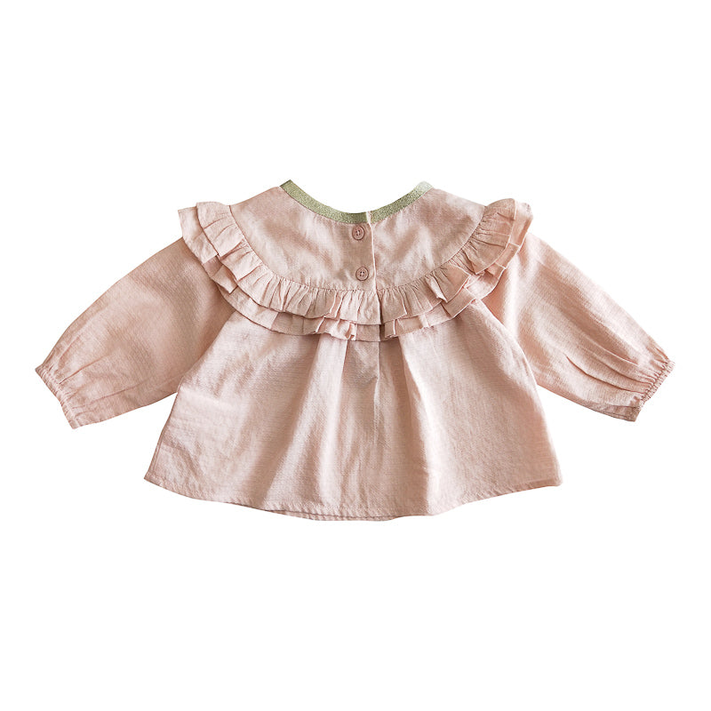Fox & Finch Baby Fleur Ruffle Yoke Top - Dusty Pink