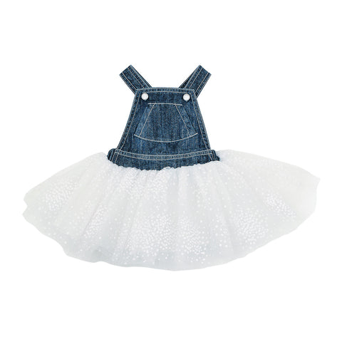 Fox & Finch Baby Holland Denim Overall Dress with Tulle - Denim/White